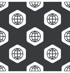 Black hexagon globe pattern vector