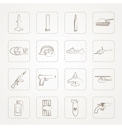 Simple weapon arms and war icons vector image