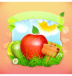 Fresh fruit label apple background for making vector