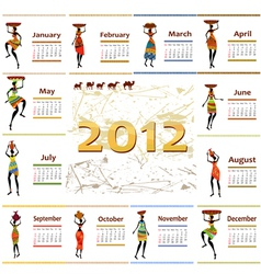 calendar 2012 with africa woman vector image