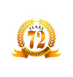 72 years ribbon anniversary vector