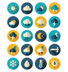Meteorology weather flat icons set vector