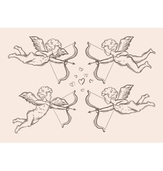 Hand-drawn sketch classic cupid angel vector