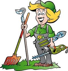 Cartoon of a Handy Gardener Woman standing with he vector image