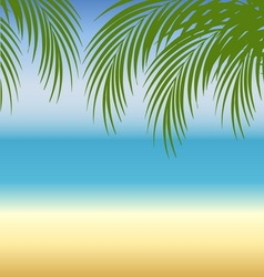 Beach background with sea sand and palm trees vector