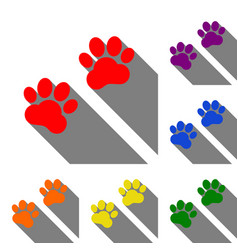 animal tracks sign set of red orange yellow vector image