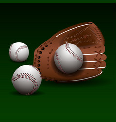 baseball glove with balls vector image vector image