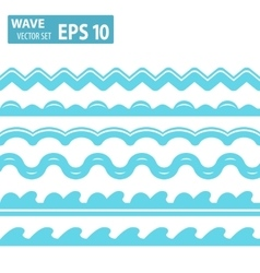 blue wave icons set on white background vector image vector image