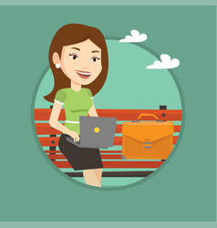 business woman working on laptop outdoor vector image vector image