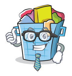 Businessman laundry basket character cartoon vector