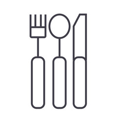 cutlery line icon sign on vector image vector image