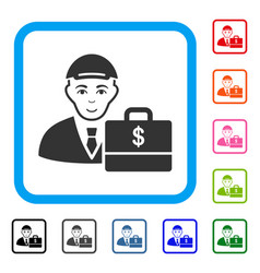 Dollar accounter framed cheerful icon vector
