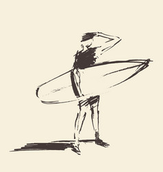Drawn young man beach surfboard sketch vector