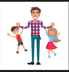 father playing with his son and little daughter vector image