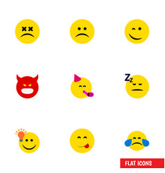 Flat icon face set of sad have an good opinion vector