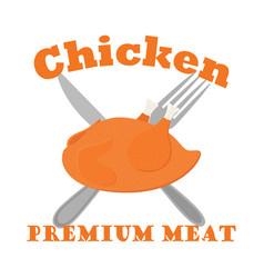 fried chicken label logo hen fork knife flat vector image vector image