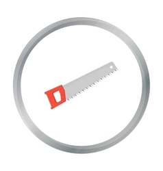 Hand saw icon in cartoon style isolated on white vector