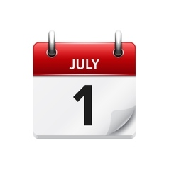 July 1 flat daily calendar icon date and vector