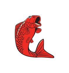 Koi nishikigoi carp fish jumping cartoon vector