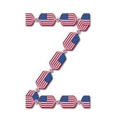 Letter Z made of USA flags in form of candies vector image vector image
