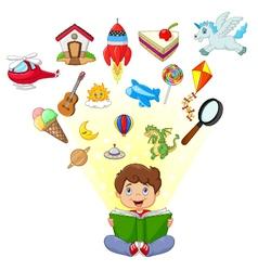 Little boy cartoon reading book education concept vector image