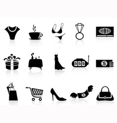 luxury shopping icons set vector image