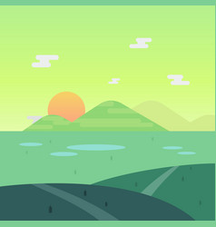 nature landscape in morning with sun and mountain vector image