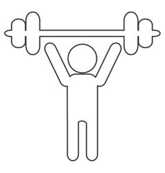 Outline of person lifting a barbell vector
