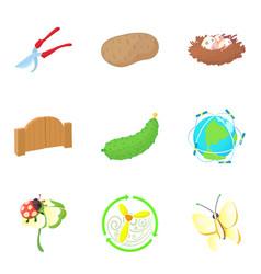 Pollination icons set cartoon style vector