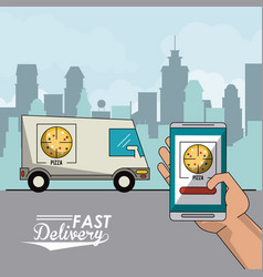 Poster city landscape with fast delivery in pizza vector