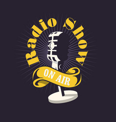 Radio show design with old fashioned microphone vector