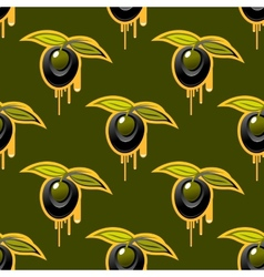 Repeat background seamless pattern of fresh olives vector