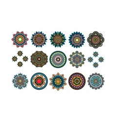 Round tribal decorative elements set vector image vector image