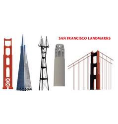 san francisco landmarks vector image