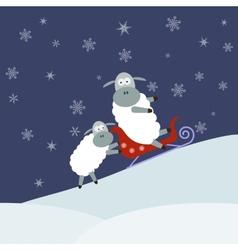 Sheep sledding vector image vector image