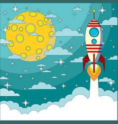 Space rocket flying in space with moon vector