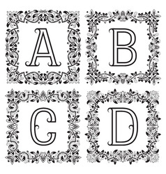 Vintage monograms set a b c d outline letters in vector