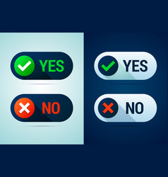 yes and no button with check mark and cross signs vector image