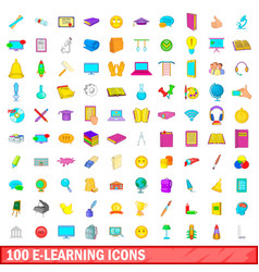 100 e-learning icons set cartoon style vector
