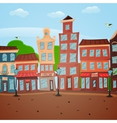 Poster with town view vector