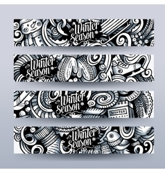 Cartoon doodles winter season banners vector