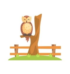 Brown Owl With Fluffy Feather Coat Sleeping On The vector image