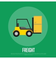 Freight banner with forklift truck vector
