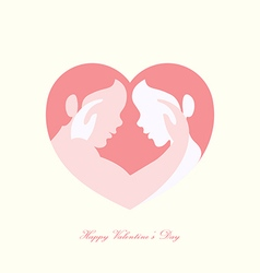 Couple caressing in heart shaped silhouette vector