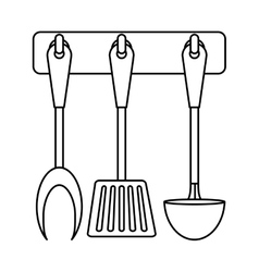 figure rack utensils kitchen icon vector image