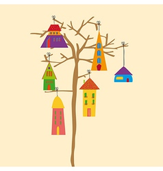 Tree little town vector