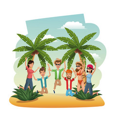 young people in the beach jumping happiness vector image