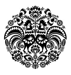 polish folk art floral round embroidery vector image