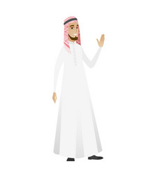 young muslim businessman waving his hand vector image
