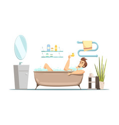 Man taking bath in bathroom vector